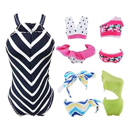 118a3dafc7 Amazon.com: E-TING Swimsuits Doll Clothes Bikini One-Piece Swimsuit for Girl  Dolls (Style#A): Toys & Games