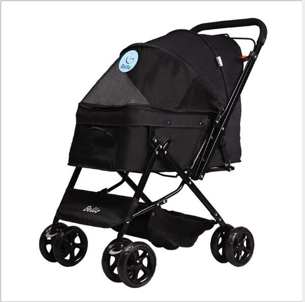 Black Zll Pet Stroller Pet Puppy Pram Dog Travel Pushchair Jogger Foldable 4-Wheeled Trolley for Dogs and Cats Pets,Black