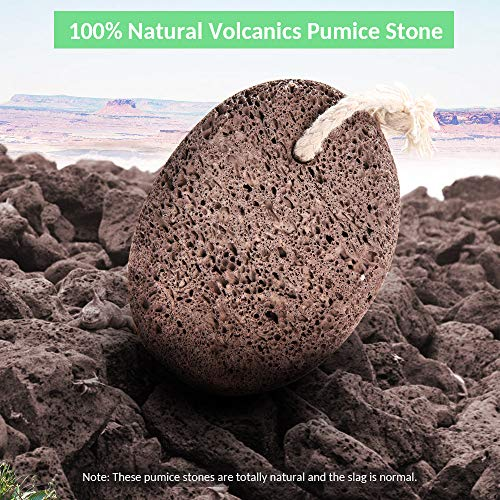 Natural Pumice Stone Foot Scrubber - Earth Volcanic Lava Pumice Stone Foot Exfoliater Callus Remover Exfoliating Rock for Feet Heel Hand Body Dead Skin Removal Home Pedicure Exfoliation Tool 2 in 1 by INCOK (Image #1)