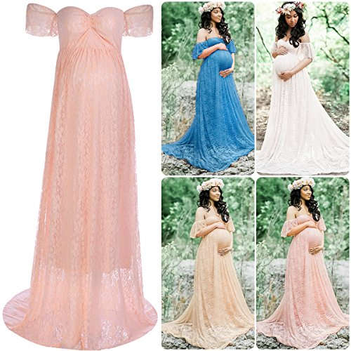 Women Maternity Photography Lace Gown Short Sleeves Off Shoulder Long Maxi Dress Baby Shower at Amazon Womens Clothing store: