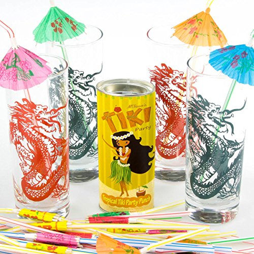 Tropical Punch Cocktail and Chinese Dragon Glasses Tiki B...