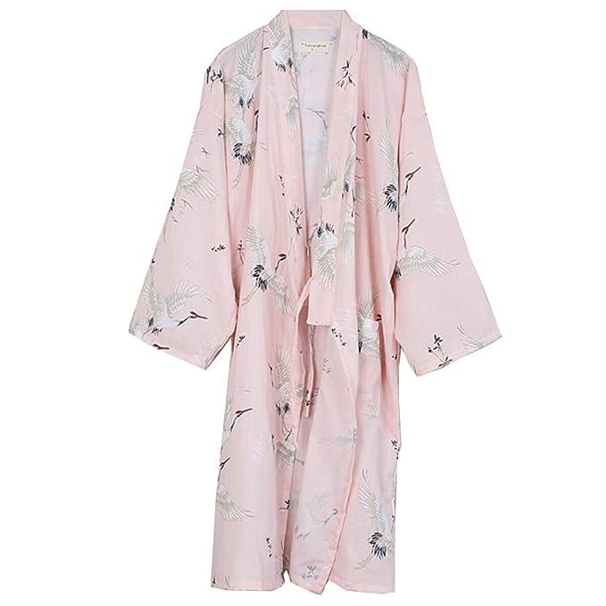 Vestido Camisero de algodón japonés para Mujer Kimono Pijama camisón-grúa B