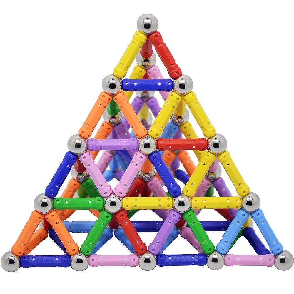 Sea Plan 144PCS Magnetic Building Toys Magnetic Blocks Bars Construction Toys for Children DIY Designer Intelligence Development Educational Toys for Kids and Adults