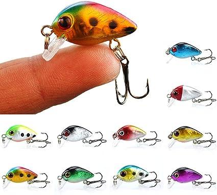 6 Pcs Hard Metal Fishing Lures Small Minnow Lure Bass Crank Bait Tackle Hooks