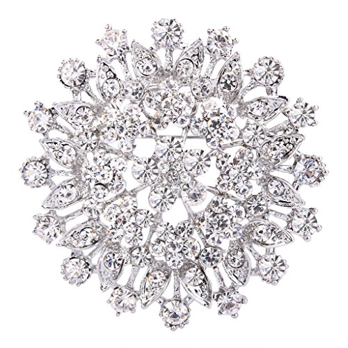 (EVER FAITH Women's Austrian Crystal Elegant Flower Leaf Bridal Corsage Brooch Pin Clear Silver-Tone)