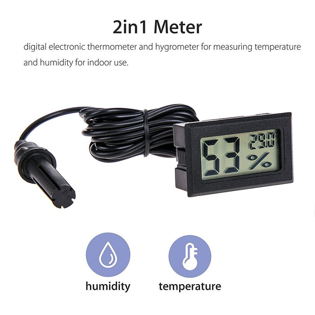 GuDoQi 4 Pack Aquarium Thermometer Hygrometer with Probe LCD Mini Embedded Temperature Humidity Meter Gauge Digital for Reptile Incubator Outdoor Indoor