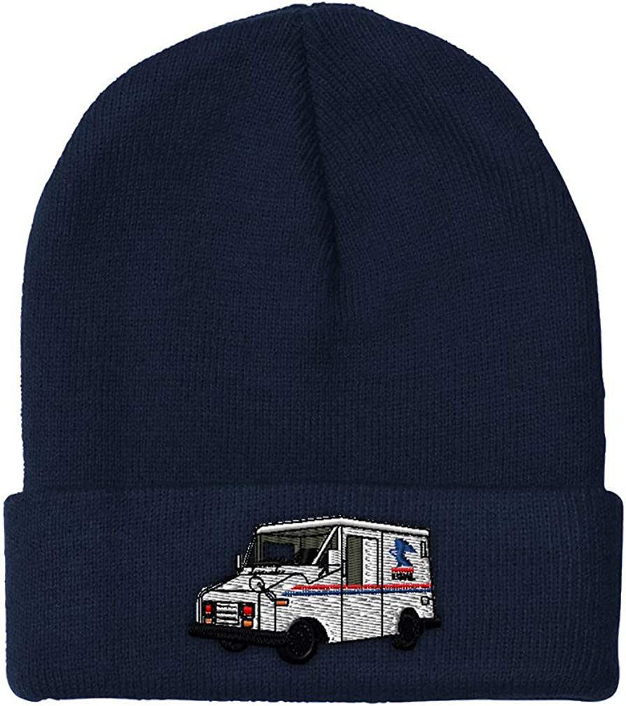Custom Beanie for Men & Women Mail Truck Embroidery Acrylic Skull Cap Hat Navy Design Only