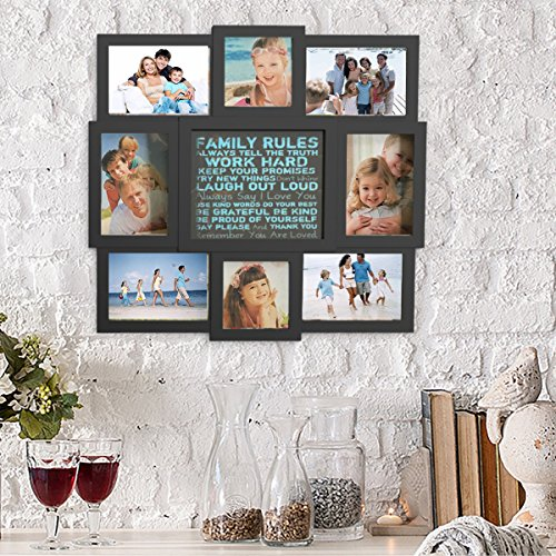 Lavish Home Family Rules Collage Picture Frame Wall Hanging Display for Personalized Décor Black