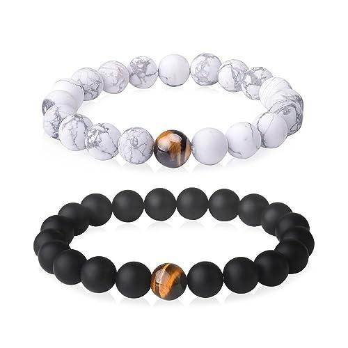cc2d89cea5 Jeka 2Pcs Couples Distance Bracelets for Men Women Large Wrist 10mm Beads  Healing Energy Elastic Black