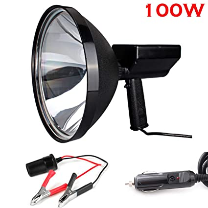842498bd90ed Car Spotlight 9 inch HID Automotive Spotlight 12v with Cigarette Lighter  Plug + Battery Conversion Clamp