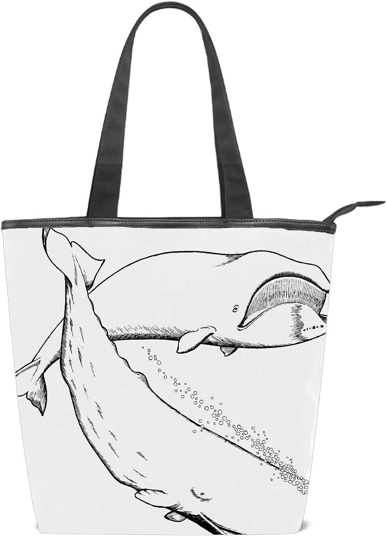 Women Whale White Canvas Shoulder Hand Bag Tote Bag