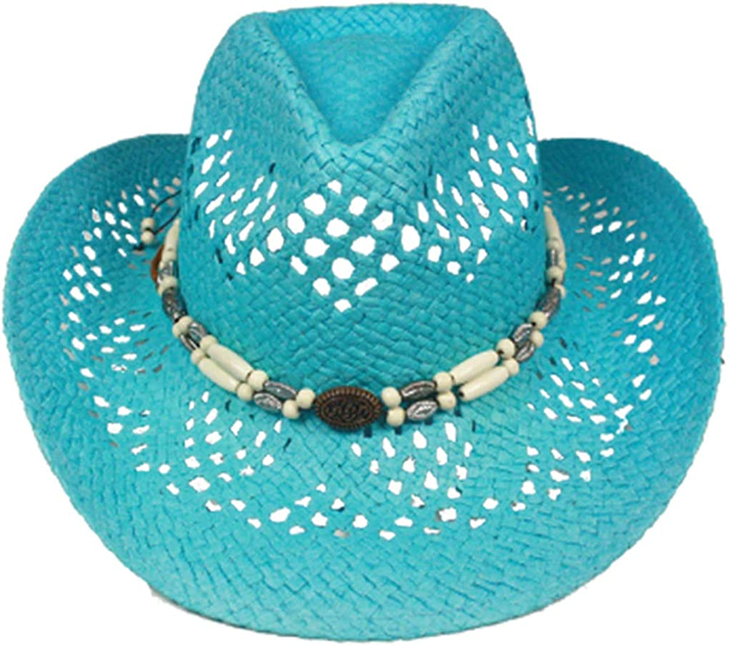 Chin Strap Silver Fever Ombre Woven Straw Cowboy Hat with Cut-Outs,Beads