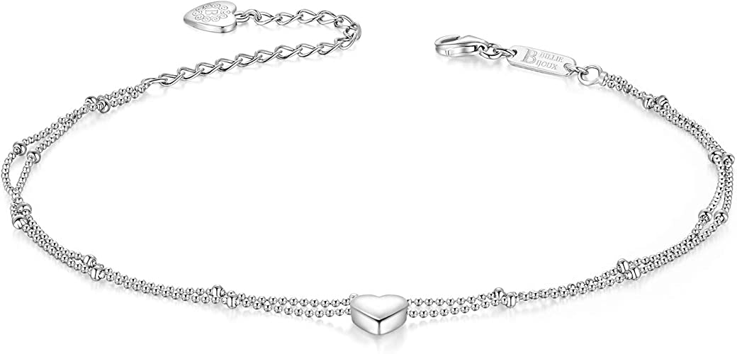 18K WHITE GOLD PLATED//10/'/' LONG LADIES ANKLE BRACELET// 925 STERLING SILVER