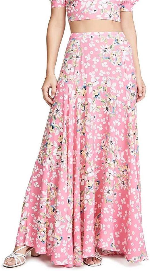 KFHDU Falda Falda de Flores Estampado de Flores patrón de Cintura ...