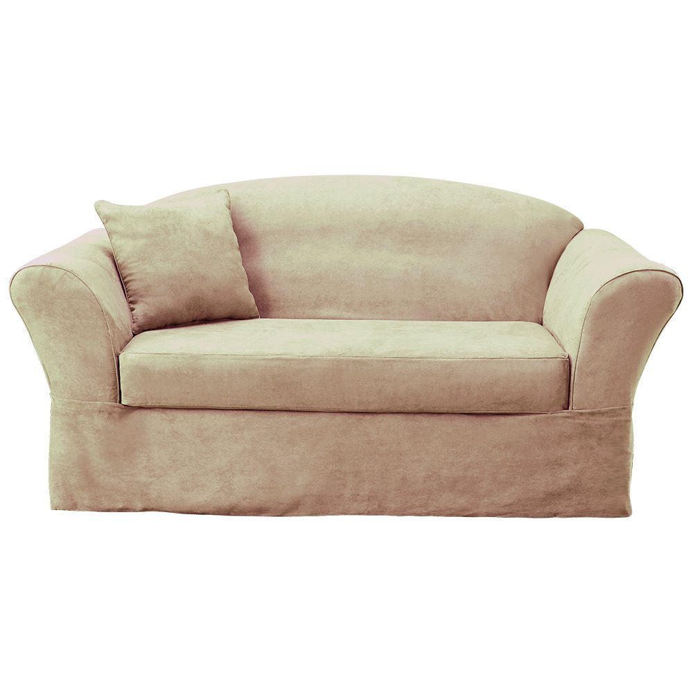 Amazon Com Sure Fit Suede Supreme Sofa Slipcover Taupe Sf42297