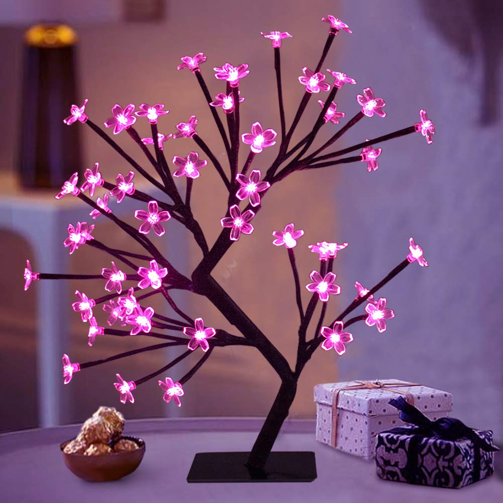 "Bright Zeal 18"" LED Cherry Blossom Tree Light with Timer - Battery Operated LED Lighted Flower Table Top - Christmas Tree Spring Home Decor - Lighted Bonsai Tree Table Lamp Modern Home Decor BZY"