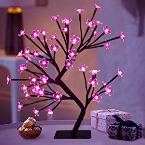 """Bright Zeal 18"""" LED Cherry Blossom Tree Light with Timer - Battery Operated LED Lighted Flower Table Top - Christmas Tree Spring Home Decor - Lighted Bonsai Tree Table Lamp Modern Home Decor BZY"""