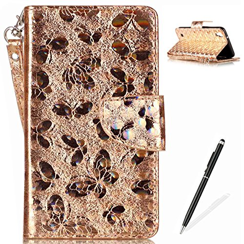 LG X Power Wallet Case,MAGQI PU Leather Case Laser Carved Technology Butterfly Design [Card Slot & Money Pocket] Magnetic Closure Detachable for LG X Power-Gold
