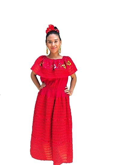 Vestido De Mujer Mexicana Color Blanco Talla S M L Xl
