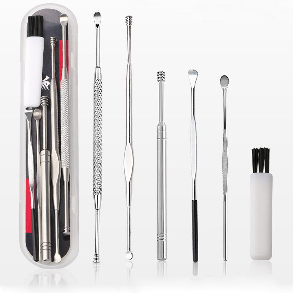Ear Pick Ear Curette Earwax Removal Kit with Storage Box, a Small Cleaning Brush Included Mebber