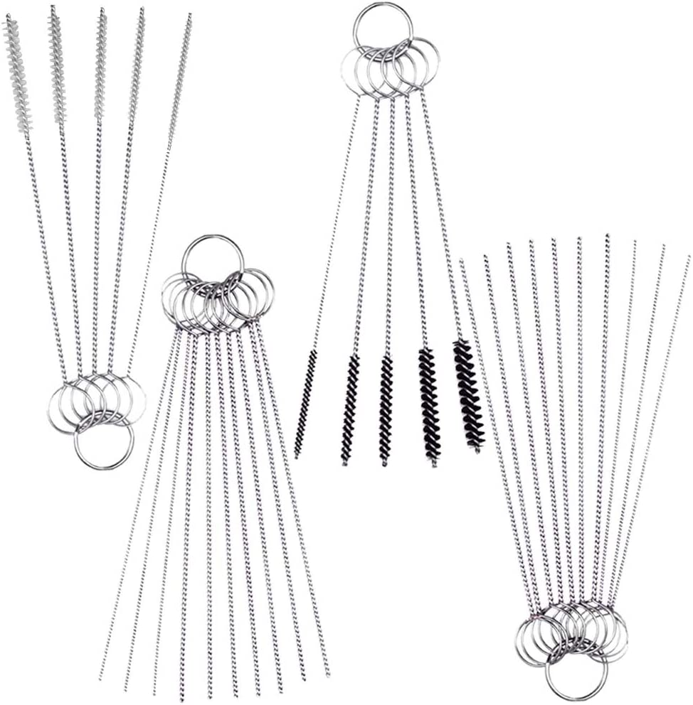 SENHAI Carburetor Carbon Dirt Jet Brushes Kit, 20 Pcs Wire Cleaning Needles with 10 Pcs Nylon Brushes, Remove Cleaners for Welder Carb Chainsaw Spray Guns Torch Tips Firing Hole Stove Burner Holes