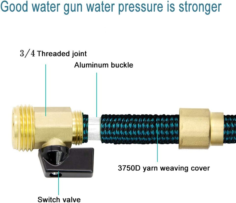 XIAOY 25FT Expandable Garden Hose, Flexible Water Pipe with Three Latex Core, Multi Spray Watering Gun/Hose Hanger,Fashion Brass Fittings Water Hosepipe 50ft