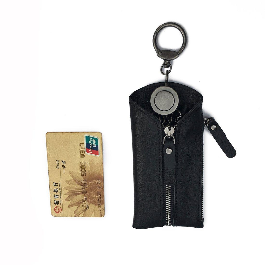Amazon.com: yttao portafolios de llavero de piel auténtica ...