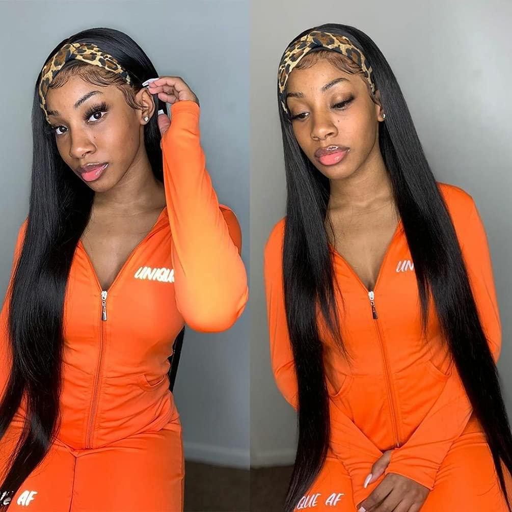 Headband New mail order Wig Max 50% OFF Human Hair Straight Wigs Women Brizilian Black for