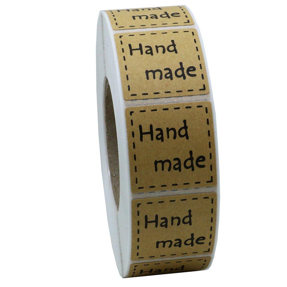 Hybsk 2, 5cm pollici quadrati Natural Kraft adesivi a mano con nero font totale 1, 000etichette adesive per rotolo