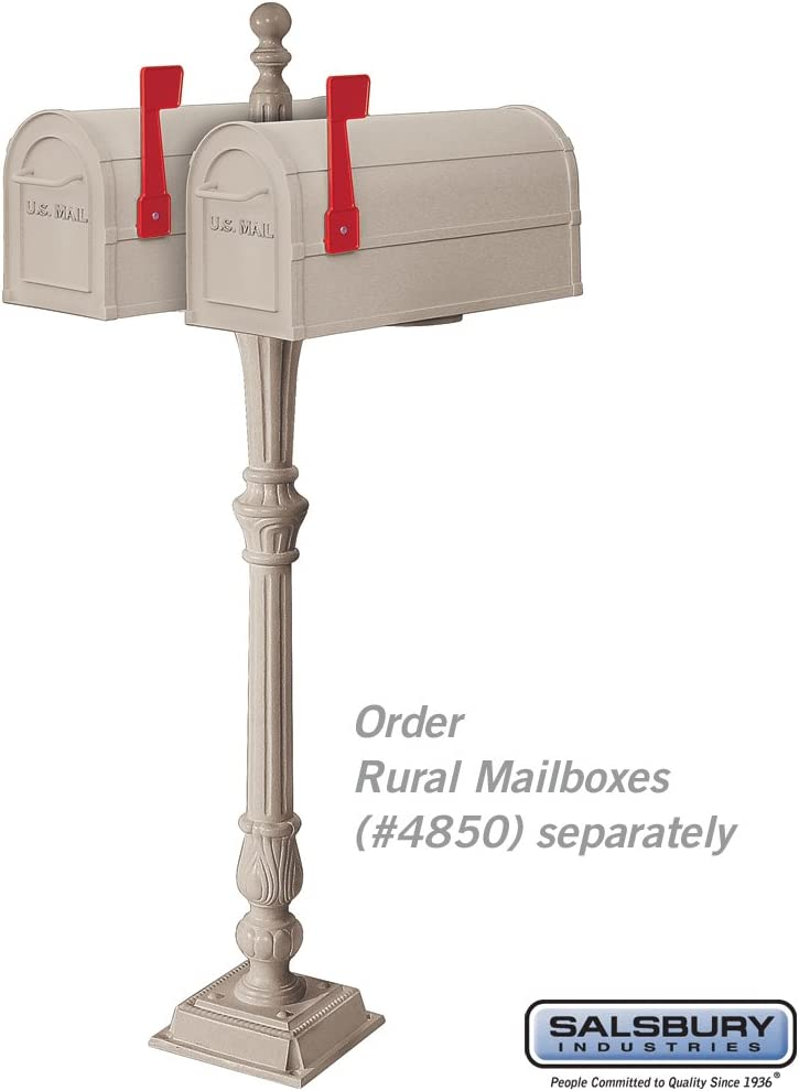 White Salsbury Industries 4892WHT 2 Sided Classic Mailbox Post