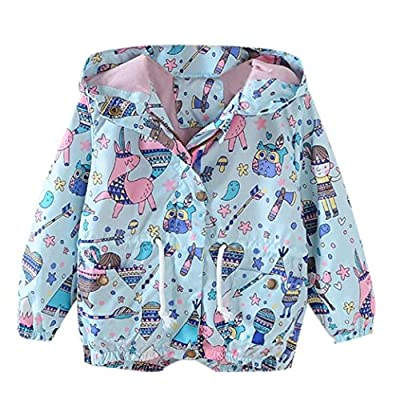 Fiaya Kids Boys Girls Spring Autumn Cartoon Print Hooded Trench Coat Jacket Outwear | 2T-6T