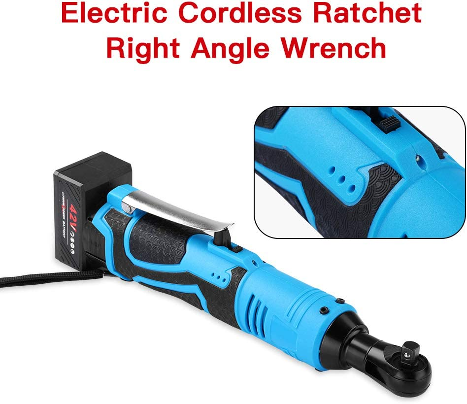 2x40mins Elikliv 3//8 42V 100Nm Electric Cordless Ratchet Right Angle Wrench Tool Set 2 Batteries Support 80Mins Working Time LED Working Light Design
