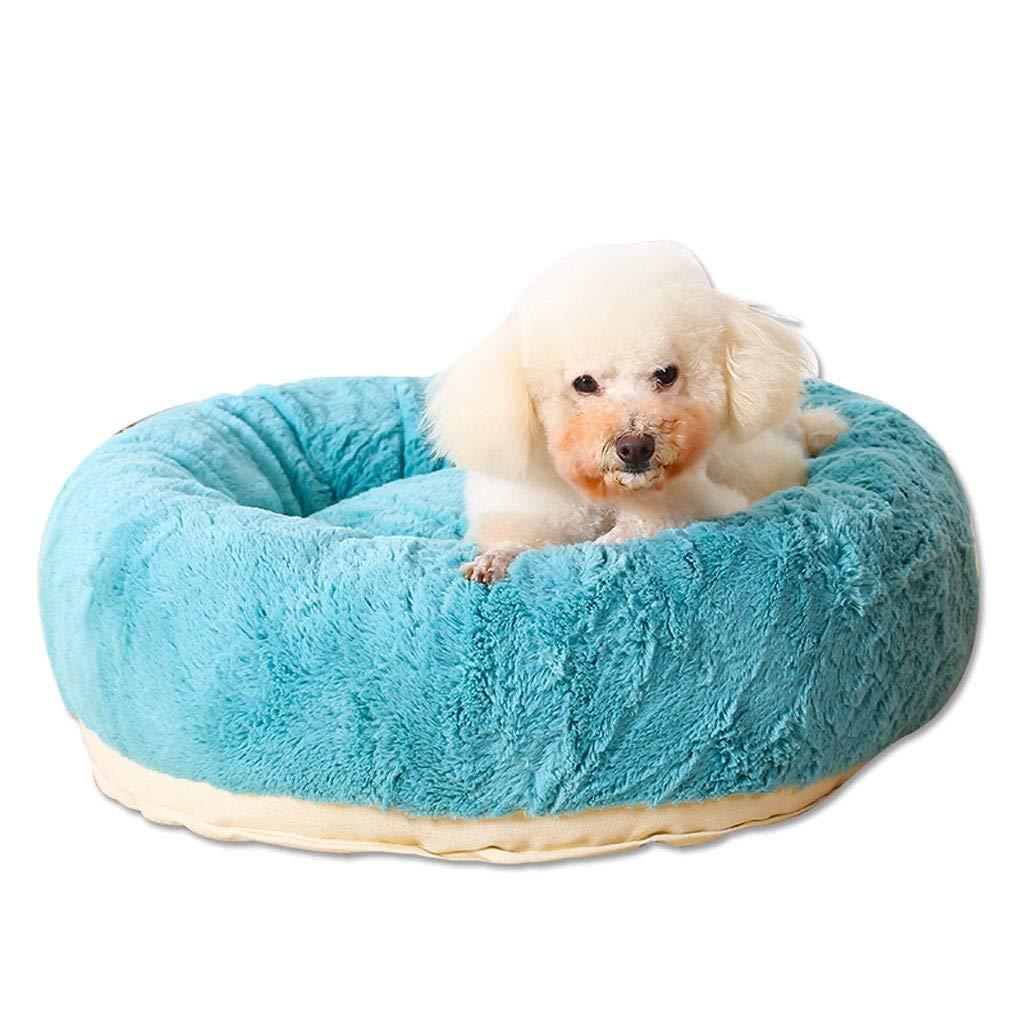 bluee 606020cm bluee 606020cm Round Arctic Velvet Cute Pet Nest, Breathable Bite Small Dog Teddy Warm Cat Dog Bed, Four Seasons Universal Pet Supplies Non-Slip Mat (color   bluee, Size   60  60  20cm)