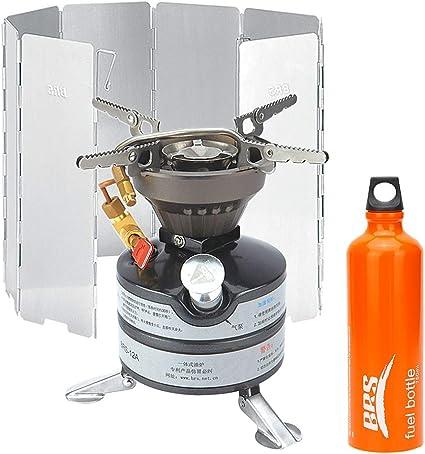 Lixada Camping Metal Estufa de Gasolina Portátil + Quemador de 750 ml Botella de Combustible + Parabrisas de 8 Platos+Bolsa de Transporte+ Herramienta ...