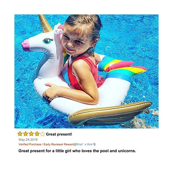 iGeeKid Pool Float for Kids Unicorn Flamingo Swim Floats for Toddlers Age 3-6 Years Inflatable Unicorn Floaties Swimming… 8