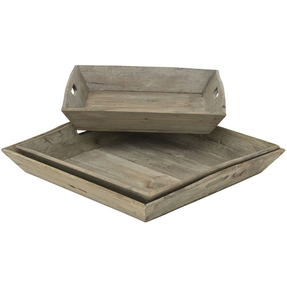 Display Trays Reclaimed Rustic Wood Tray Set Set of 3 by Park Hill Collection (Image #3)
