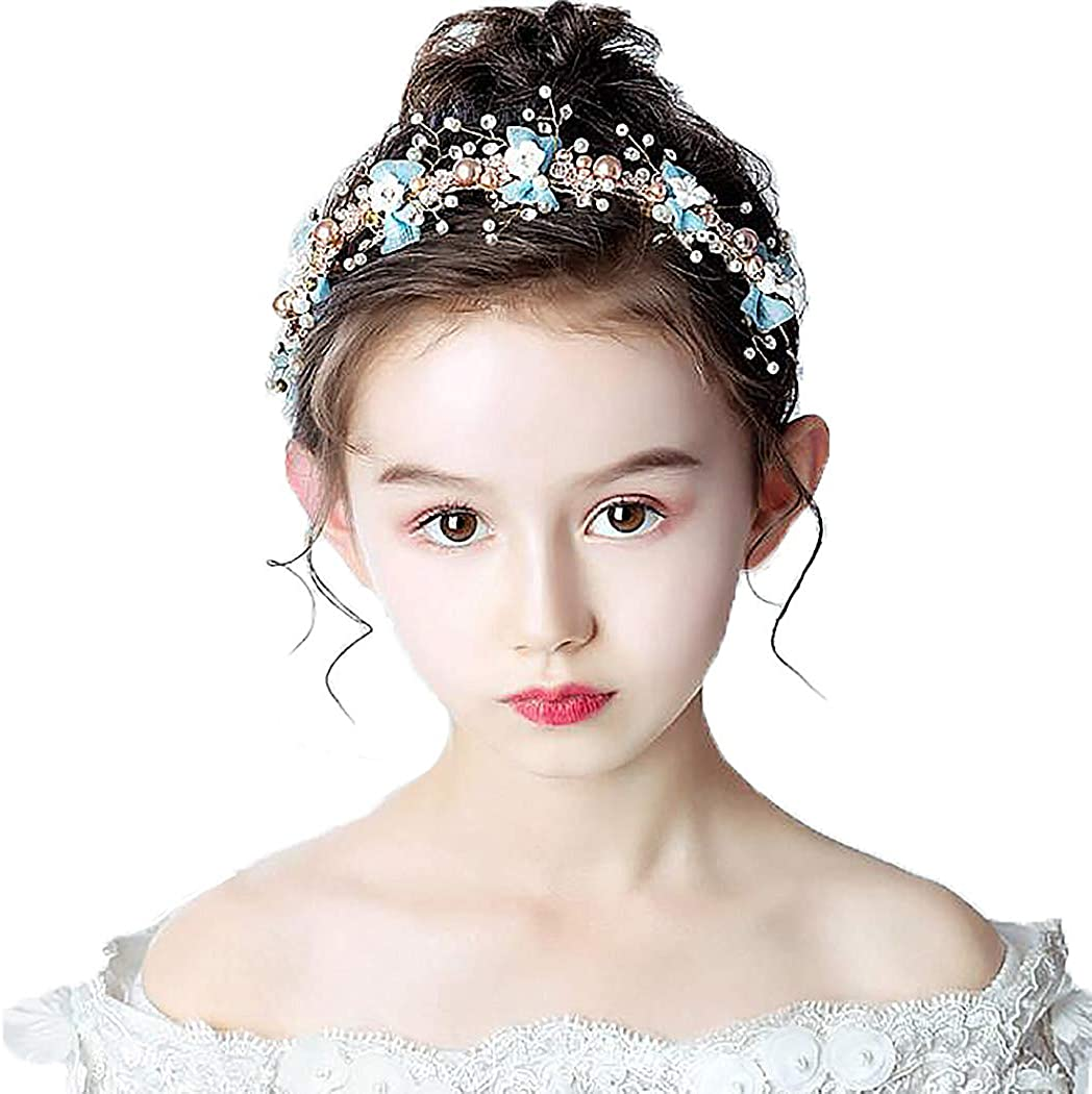 Campsis Lovely Pearl Princess Headpiece Bow-Knot Tiara Cute Bride Hair Accessories for Women and Girls and Flower Girls