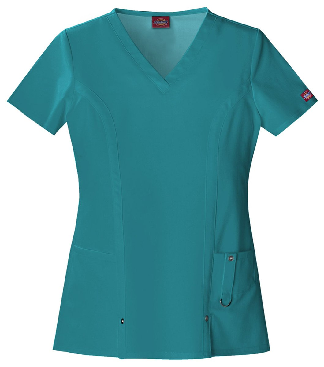 Dickies Women's Classic V-Neck Top_Teal_XXX-Large,82851