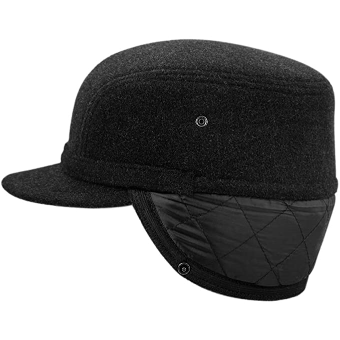 winter baseball cap with flaps wool hat ear capital fleece working flap amazon men clothing store