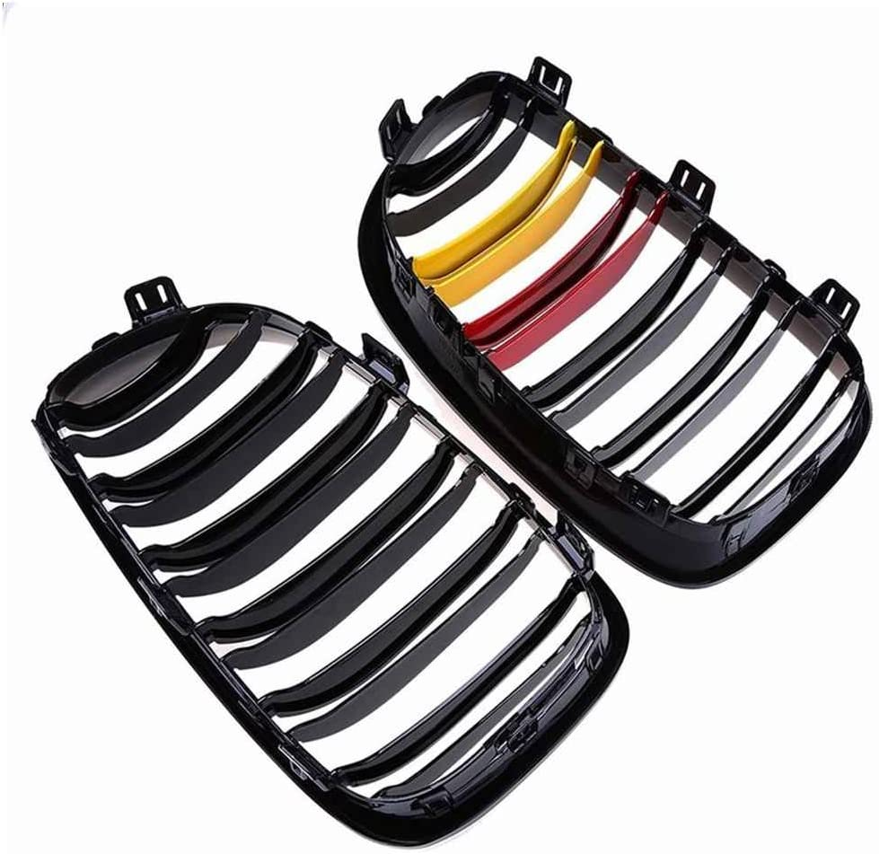 Junecat Gloss Black Double Ligne M-Couleur Avant Grilles Rein pour 1 S/érie E81 E87 120d 120i 130i 08-11