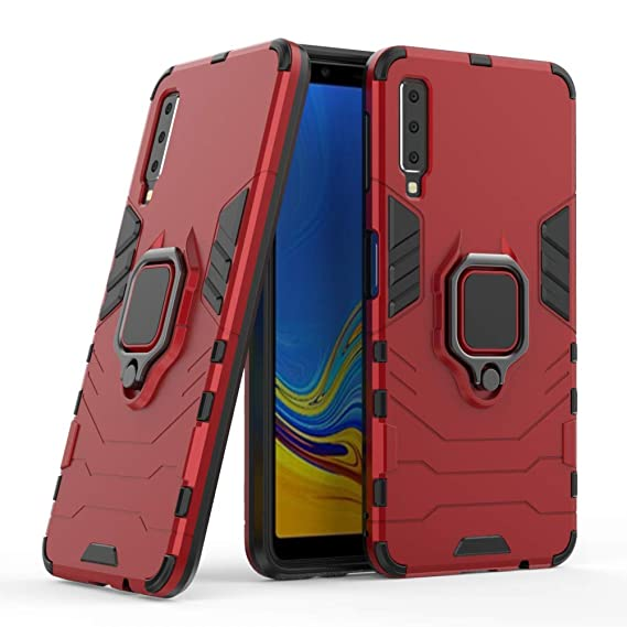 new arrivals 683c0 cf8cc Galaxy A7 2018 Case DWaybox Ring Holder Iron Man Design 2 in 1 Hybrid Heavy  Duty Armor Hard Back Case Cover for Samsung Galaxy A7 2018 SM-A750 6.0 ...