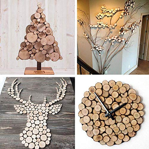 20pcs Natural Wood Slices with Holes and Twines Unfinished Predrilled Tree Bark Log Discs for DIY Crafts Rustic Wedding Decoration Vintage Wedding Ornaments (Brown) ()