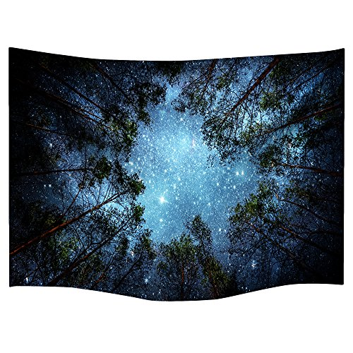Celestial Galaxy Night Sky Full of Stars Wall Tapestry Sublime Forest Nature View Hanging Artistic Home Dcor (60