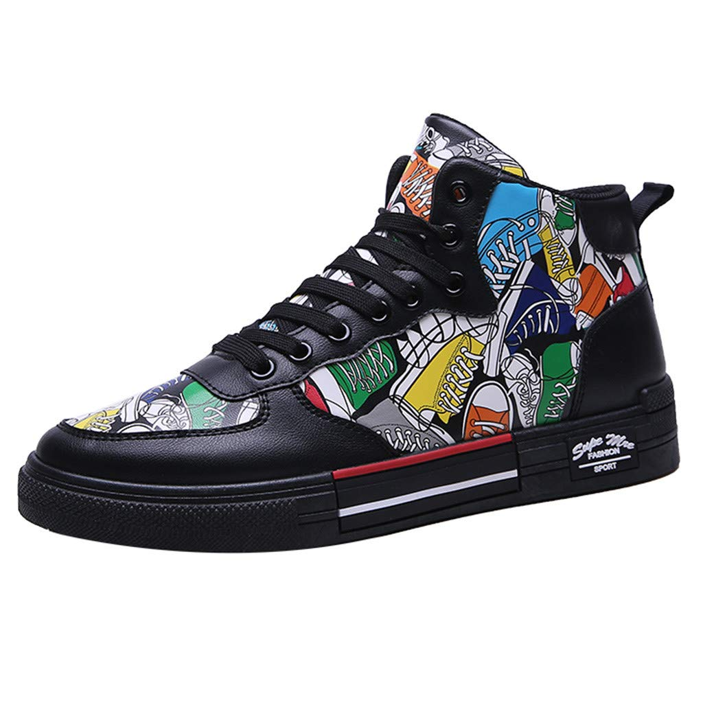 Boomboom Personalized Canvas Shoes Casual Outdoor Men High-Top Shoes (Black,US 8.5)