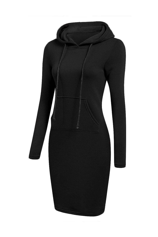Vemubapis Women Casual Long Sleeves Pullover Hooded Sweater Hoodie Dress