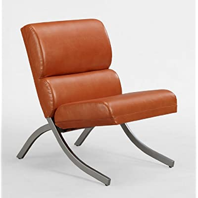 Amazon Com Rust Colored Faux Leather Accent Chair
