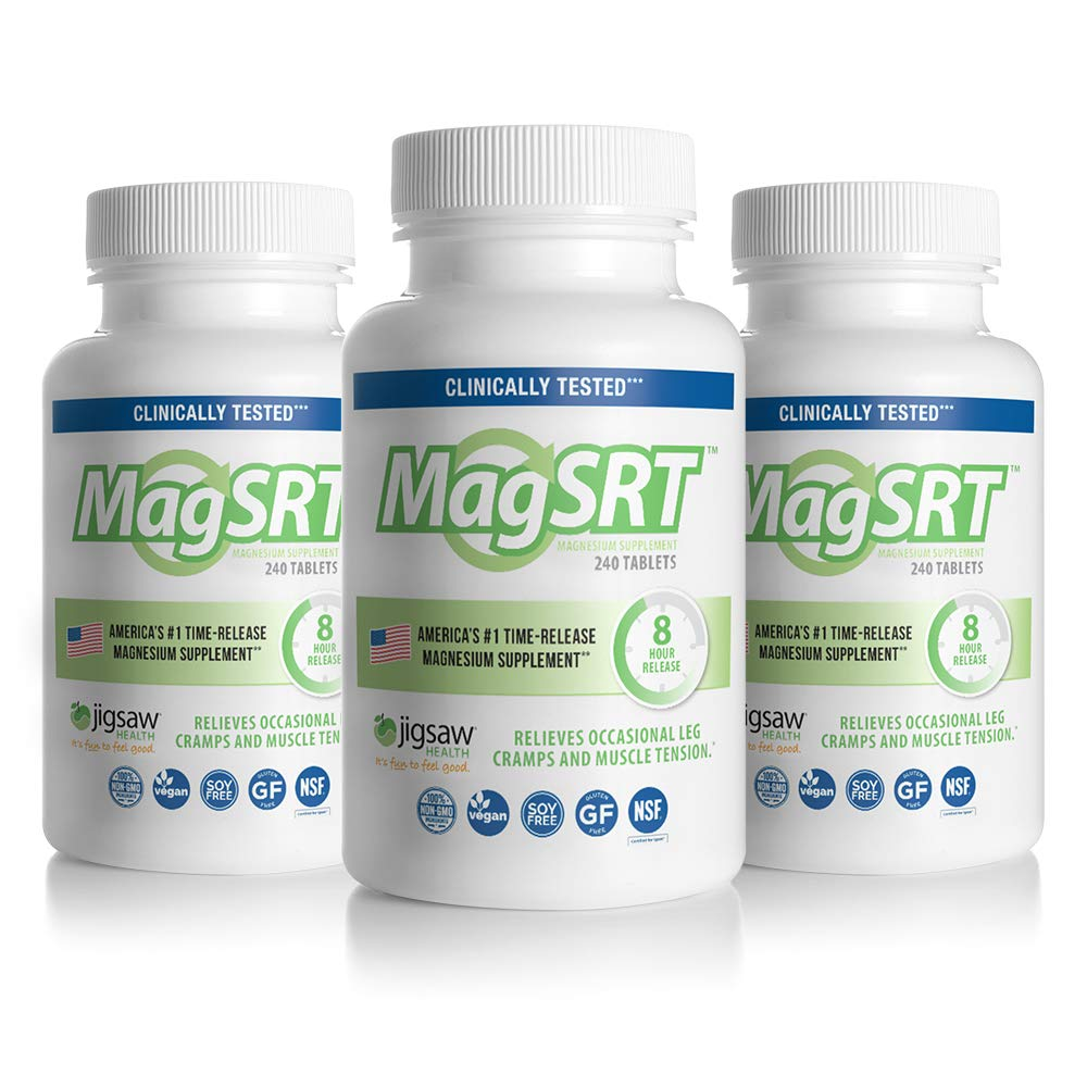 MagSRT - Jigsaw Health - Premium, Organic, Slow Release Magnesium Supplement - Active, Bioavailable Magnesium Malate Tablets with B-Vitamin Co-Factors, 240 Tablets (3-Pack)