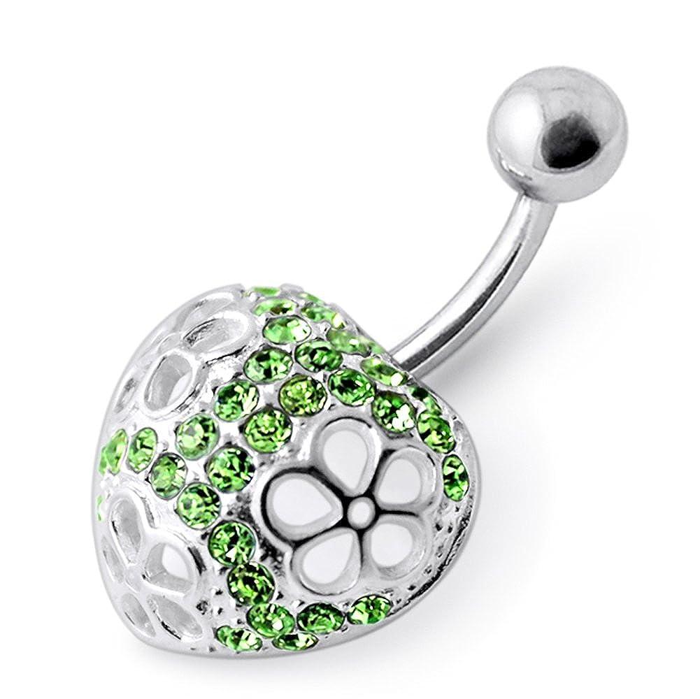 Silver Belly Rings Multi Crystal Gemstone Stylish Cut Out 3 Flower in Heart 925 Sterling Body Jewelry