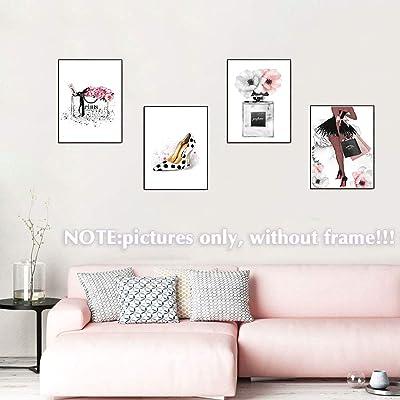 Buy Lodintech Fashion Women Canvas Wall Art Girls Bedroom Wall Decor Pink Flower Perfume Art Prints Modern Posters Living Room Women Office Decorations Handbags High Heels Paintings Unframed 8x12 4pcs Online In Canada