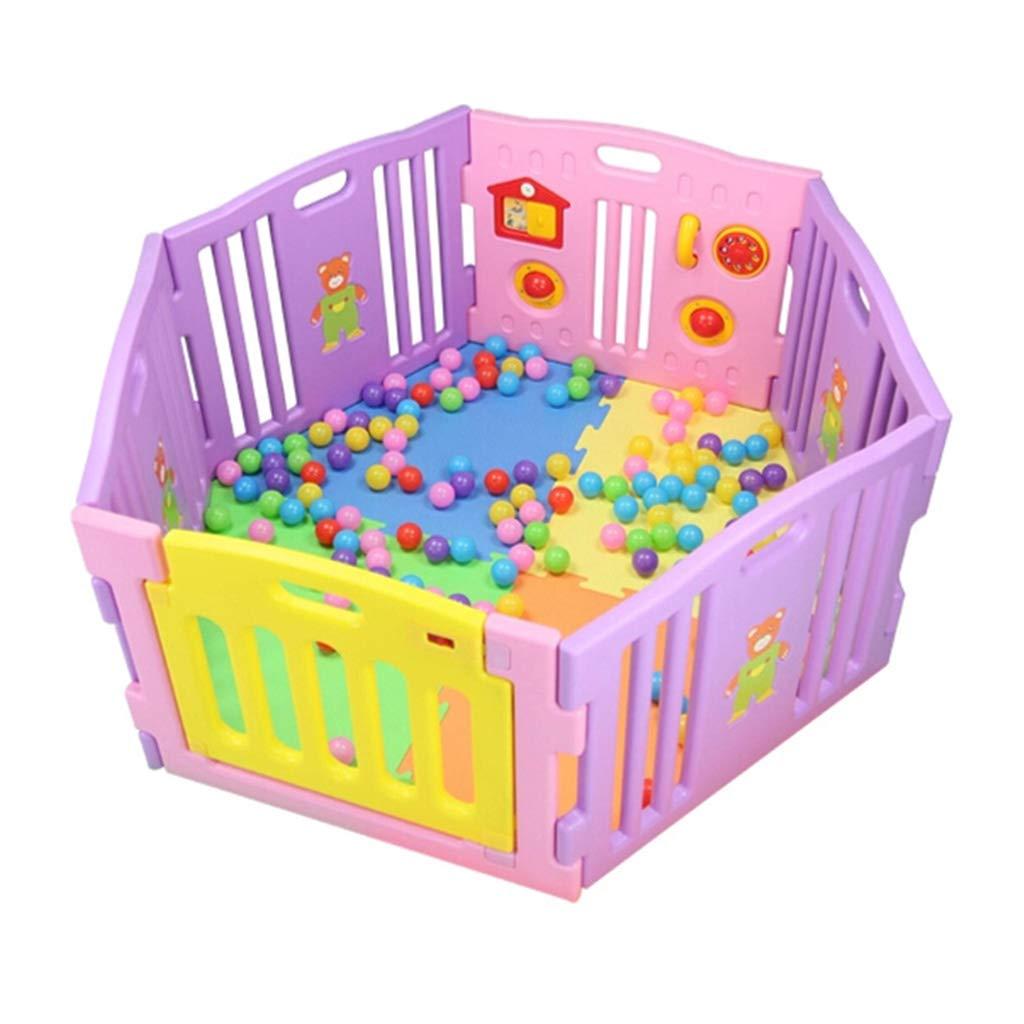 赤ちゃんのベビーサークル活動センター安全プラスチック製ドア付き環境にやさしいクリーニングに適し子供0-6屋内用と屋外用6パネル  A B07SBN864F